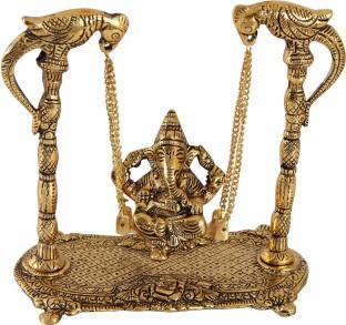 Handicrafts Paradise Ganeshsa with Leaf Back Drop in Antique Golden Finish Metal