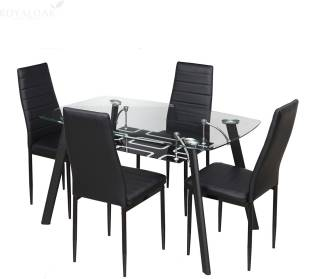 RoyalOak Milan Glass 4 Seater Dining Set