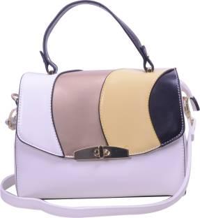 ESBEDA Women White Leatherette Sling Bag