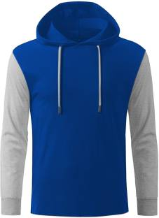 GHPC Solid Men's Hooded Blue T-Shirt