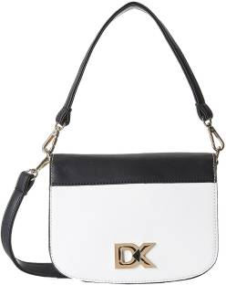 Diana Korr Women White, Black PU Sling Bag