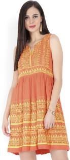 Global Desi Women's Shift Orange Dress