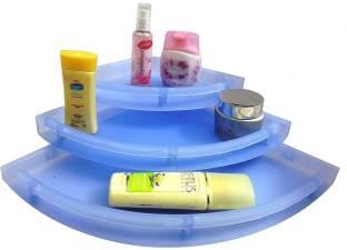 "ECO UnBreakable"" Premium Quality Crystal Clear Corner Set Plastic Bathroom Corner Shelves (Pack of 3, Clear) BLUE Plastic Wall Shelf"
