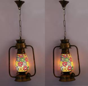 Afast Antique Pendant Hanging Lantern Lamp Light With Colorful Gl