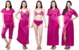 Sizzlacious Women's Nighty, Robe, Top & Bottom Set