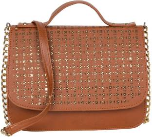ADISA Women Tan PU Sling Bag
