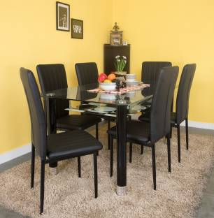 dining table furniture india. woodness glass 6 seater dining set table furniture india