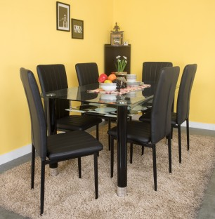 Exceptional Woodness Glass 6 Seater Dining Set Part 25