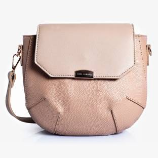 Lino Perros Women Beige Leatherette Sling Bag
