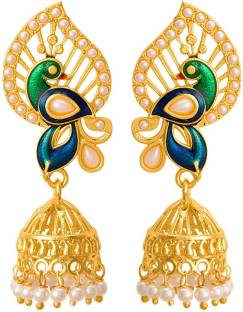 d2622f050 Voylla Jhumka Earrings with Peacock Motif Pearl Brass Jhumki Earring