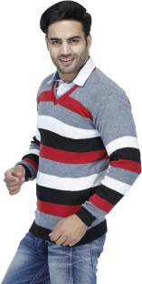 Rakshita Collection Striped V-neck Casual Men's Red Sweater
