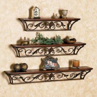 Onlineshoppee Wood Wrought Iron Fancy Wall Bracket Wooden Wall