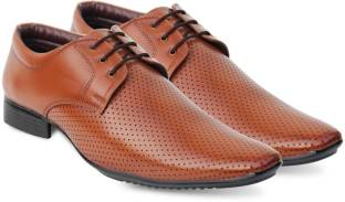 Axonza AXONZA Mens' Tan 415 Lace up Office/Party wear Synthetic leather Formal Shoes Lace Up For Men