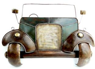 Vedaports Texture Brown Metal Vintage Jeep Car Wall Hanging By Vedas Decorative Showpiece 79 Cm