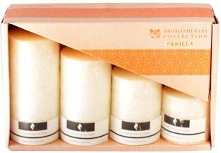 Skycandle.in Vanilla Scented Marble Pillar Set (Cream, Pack of 4) Candle