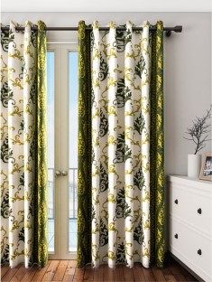 Cortina Polyester Green Floral Eyelet Door Curtain Part 92
