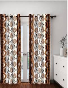 Cortina Polyester Brown Fl Eyelet Door Curtain