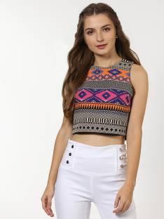 Sassafras Casual Sleeveless Printed Women Multicolor Top