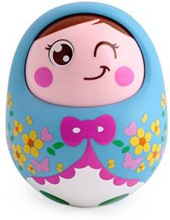 Tiny Mynee Cartoon Tumbler Doll Roly-poly for babies with Sound&Nodding head-Blue Rattle