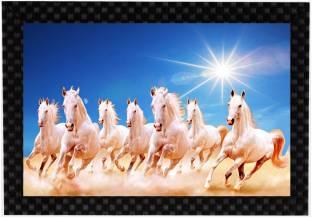 Mlh Vastu Series Seven White Running Horses Digital Reprint 95 Inch