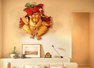 Amazing Craftedindia Hand Painted Multicolor Ganpati Wall Décor Decorative Showpiece    87 Cm