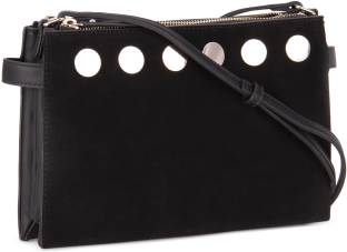 6866c5c18235 French Connection Women Casual Black Genuine Leather Sling Bag