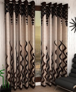 Home Sizzler Polyester Brown Abstract Eyelet Door Curtain Part 56