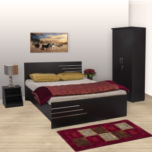 bharat lifestyle engineered wood bed side table wardrobe