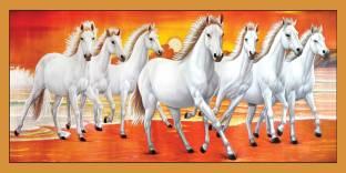 Vastu Poster White 7 Horse Running Banner Poster 36 X 24 Inch