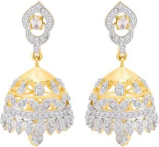 b102c748e Voylla Generic CZ Gold Plated Jhumka Earrings Cubic Zirconia Brass Jhumki  Earring
