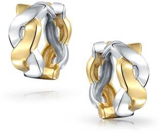 03e1d81d8 925 Silver Small Infinity Huggie Hoop Two Tone Earrings Sterling Silver  Hoop Earring