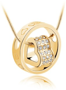 Nakabh Heart In Ring Yellow Gold Alloy Pendant