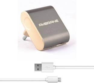 Ambrane ATC-44 2.4 A Type C Dual port Rapid 2.4 A Multiport Mobile Charger with Detachable Cable