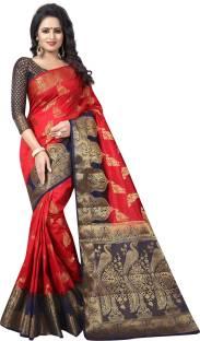 Saarah Self Design Kanjivaram Art Silk Saree