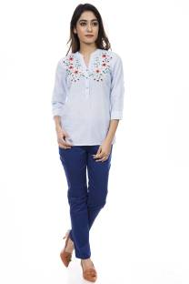 e193c21c2cc52 Triumphin Casual 3 4th Sleeve Embroidered Women s White Top - Buy ...