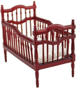 Bestlee 1:12 Doll House Furniture Red Wooden Victorian Doll Bed Crib With  Mattress