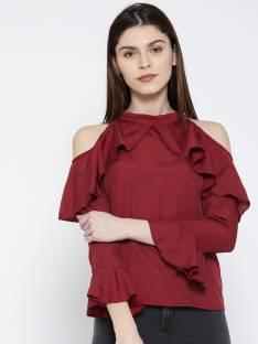 U&F Casual 3/4th Sleeve Solid Women Maroon Top