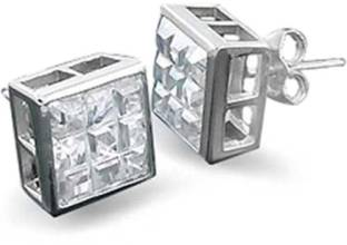 5bbfba3fb Bling Jewelry Square Invisible Cut CZ Bezel Stud earrings 925 Sterling  Silver 7mm Cubic Zirconia Sterling