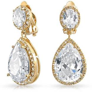 07105eaa8 Gold Plated Cubic Zirconia Teadrop Dangle Clip On Earrings Cubic Zirconia  Brass Chandelier Earring