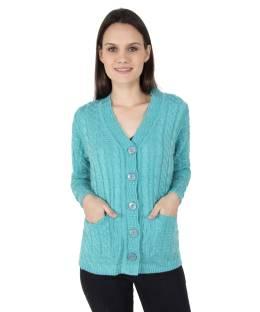 Zoravie Woven V-neck Casual Women's Blue Sweater