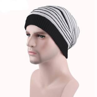 43fe1451d HOZIE Black   White Slouchy woolen Long Beanie Cap for Winter skull head  Unisex Cap