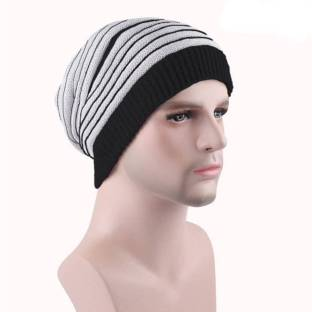 b030fada1 ALAMOS Black   White Slouchy woolen Long Beanie Cap for Winter skull head  Unisex Cap