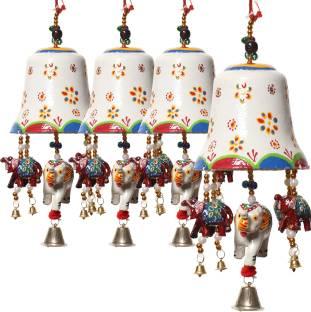 Dreamkraft Paper Mache Big Bell With Ganesh Elephant Decorative