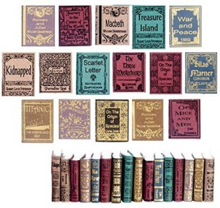 Dollhouse Miniature Set of 10 Epic Poems in Hardcover Books by R.B Foltz /& Co.