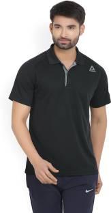 REEBOK Solid Men's Polo Neck Black T-Shirt