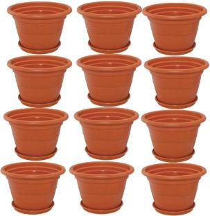 3fcdd4e2a Meded 12 inch Heavy Duty Plastic Garden Planters With Bottom Tray (Pack of  12)