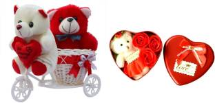 484deaf2f137 Lata Set Of Cute Red   White Teddies on Tricycle and Heart Shape utility  box 3