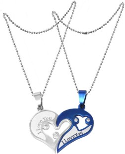 Men Style Valentine Gift Couple Stainless Steel Necklace Sets I Love You  Heart Shape Locket Stainless