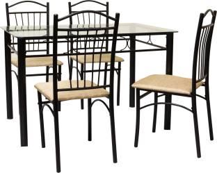 FurnitureKraft Rome Glass 4 Seater Dining Set