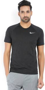 Nike Solid Men's Round Neck Black T-Shirt